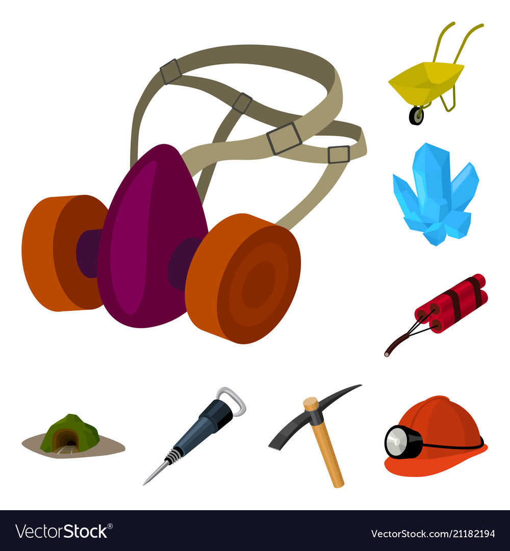 Mining industry cartoon icons in set collection