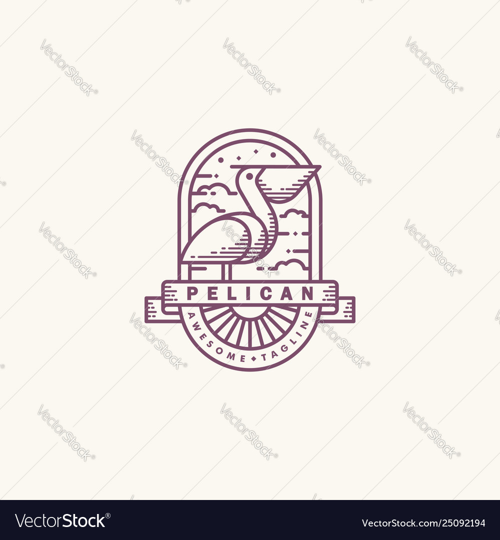 Pelican line art mono design template