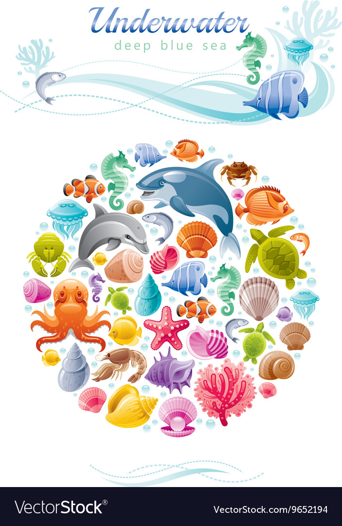 Sea travel icon set with underwater diving animals