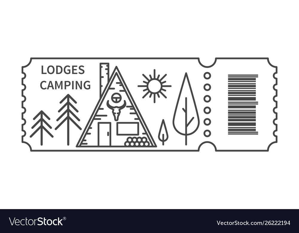 Ticket with barcode and lodge