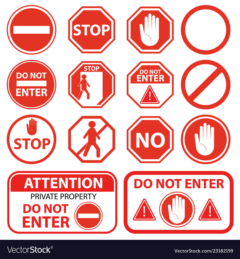 Cartoon red stop signs icon set different type