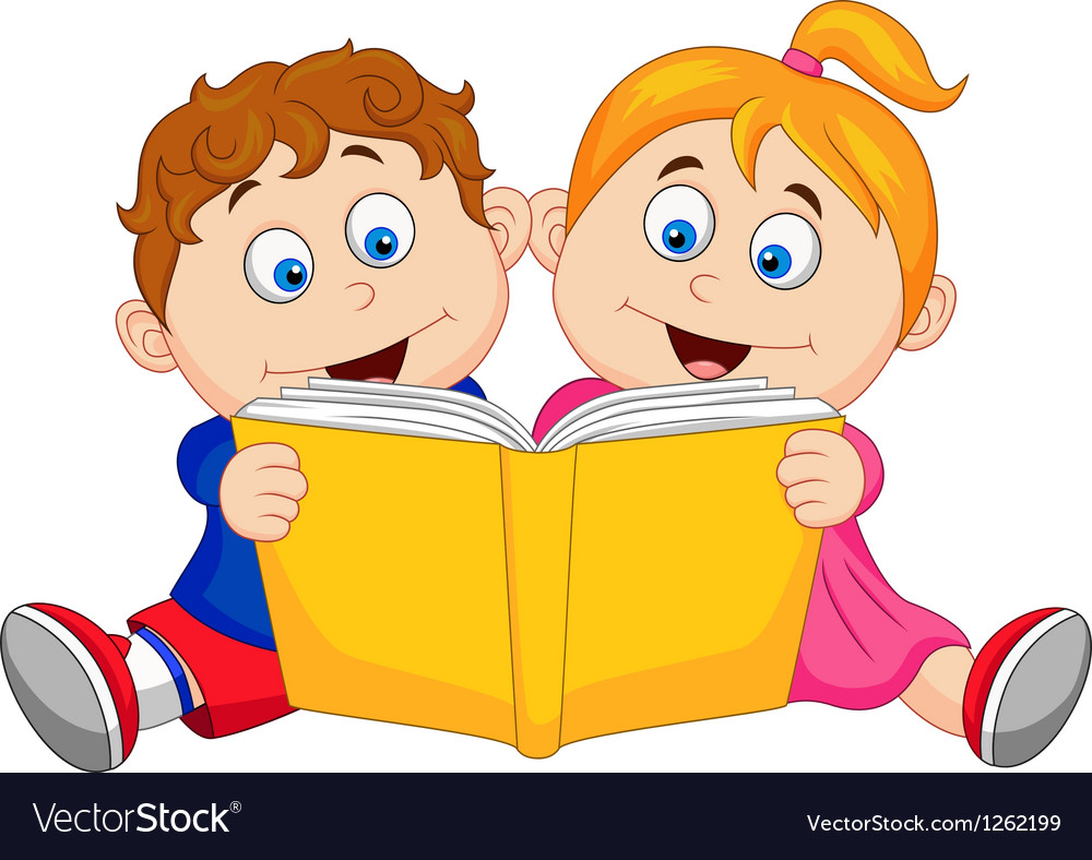 children cartoon reading a book royalty free vector image