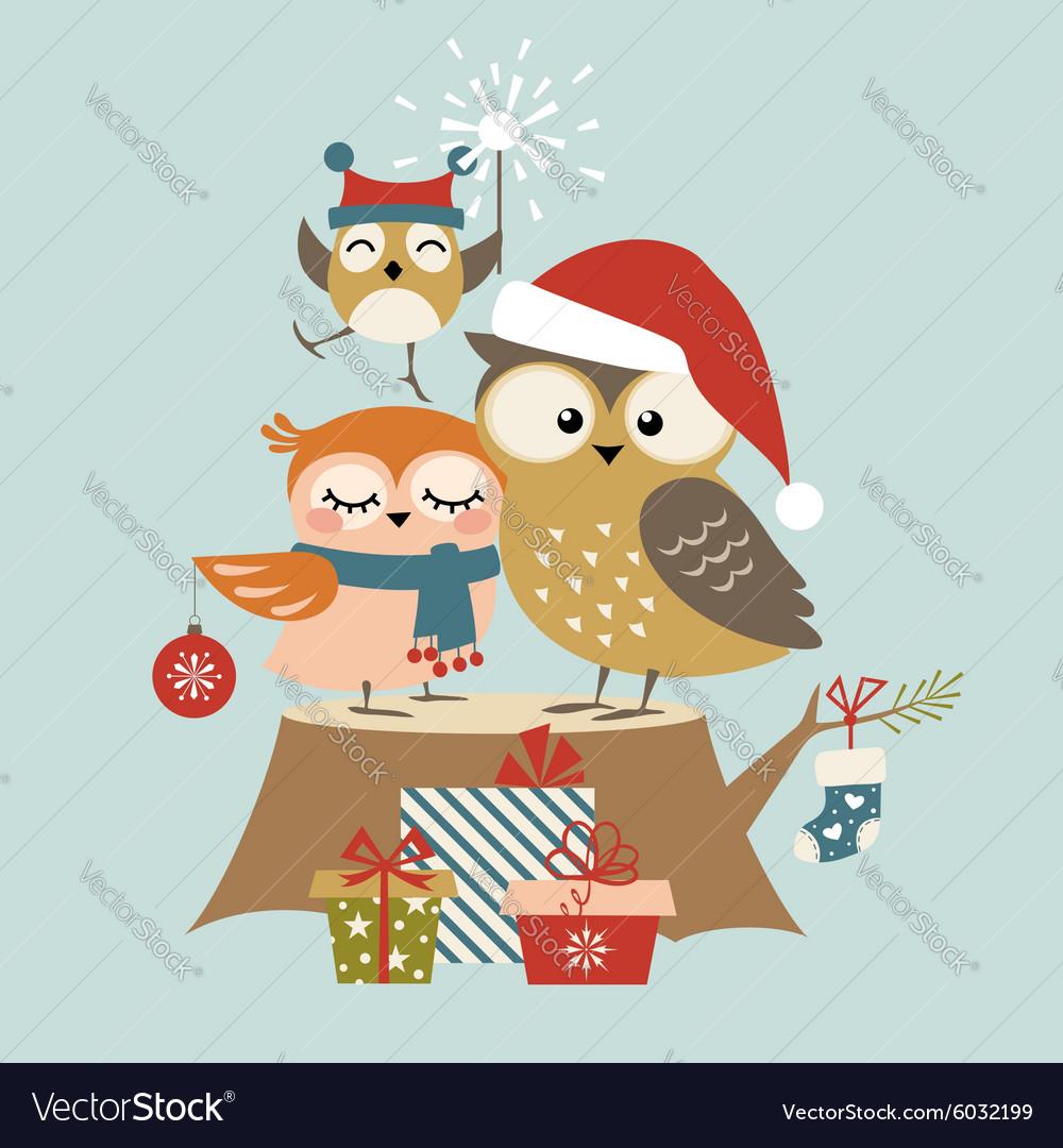 Christmas Owl.Christmas Owl Family