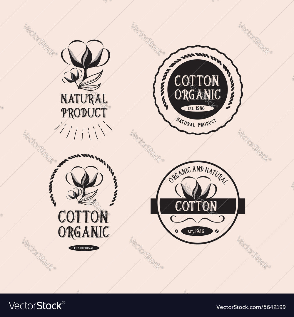 Cotton badges design organic product
