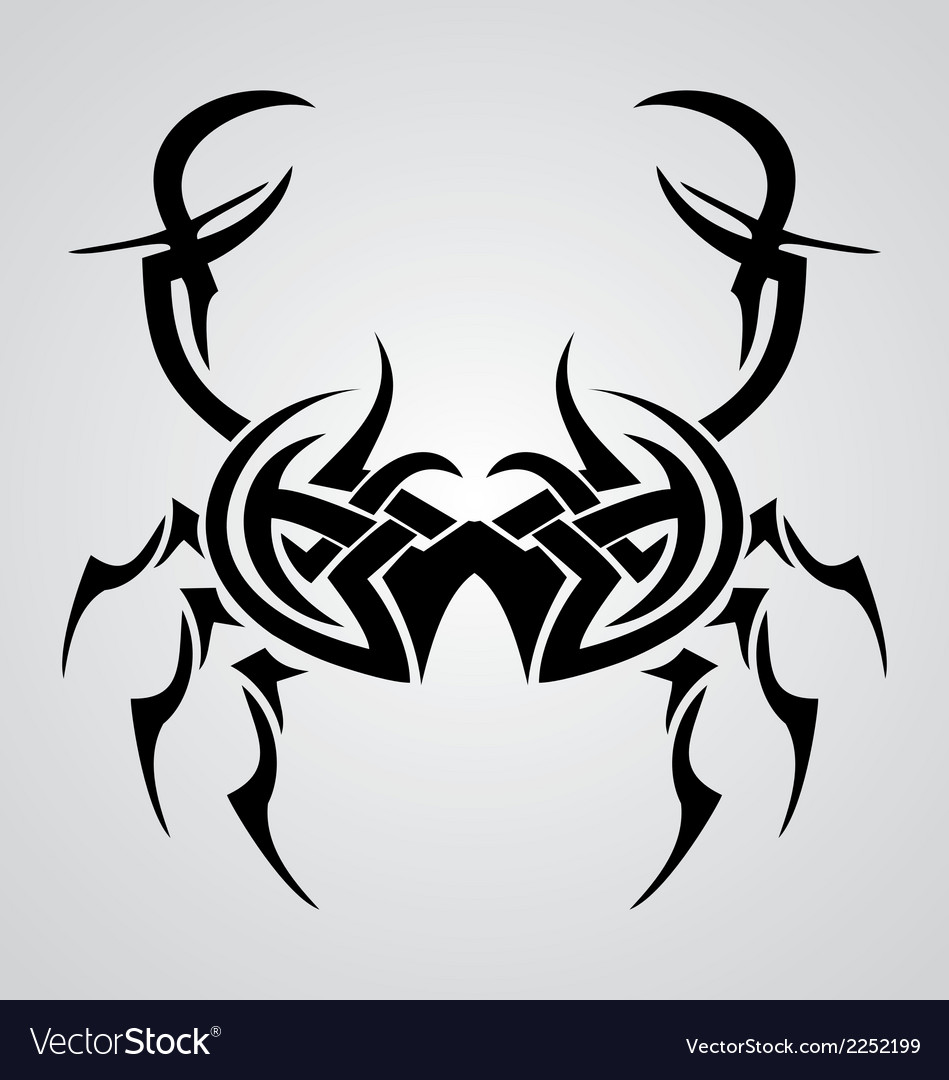 9b2107ec2 Crab Tribal Tattoo Royalty Free Vector Image - VectorStock