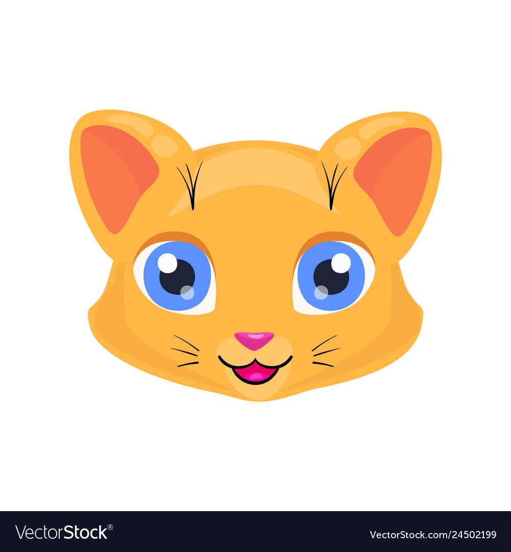 Cute Cat Face Or Mask Royalty Free Vector Image