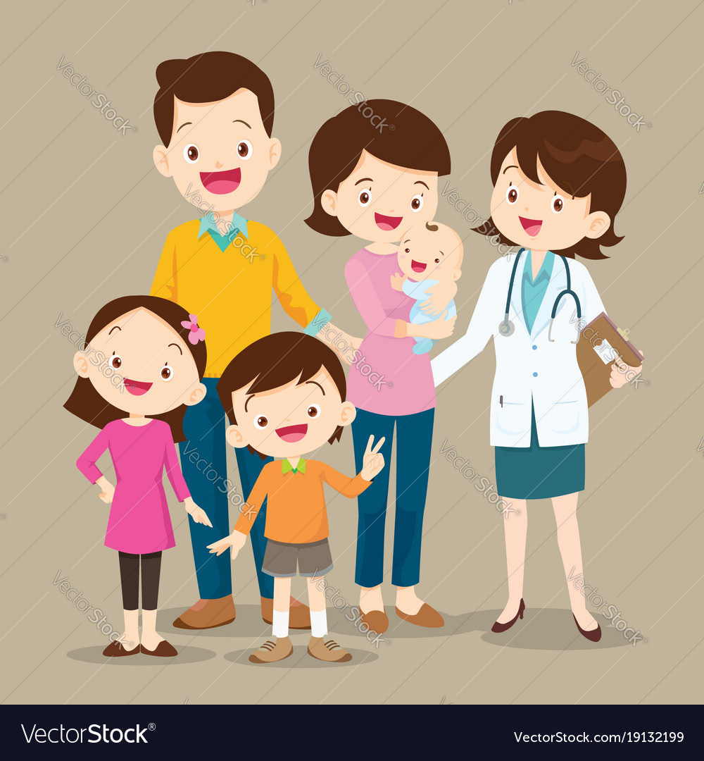 Cute family with baby and woman doctor vector image