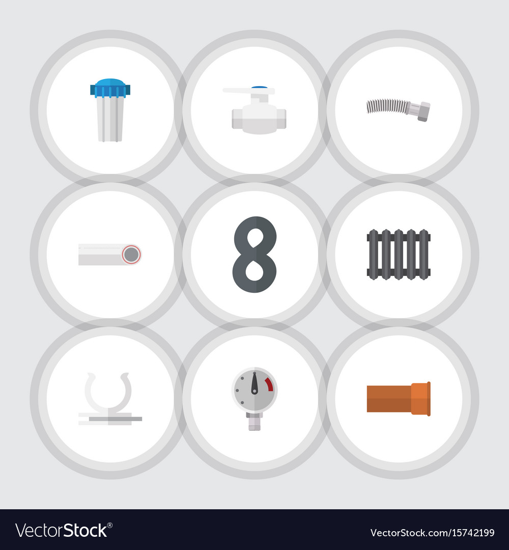 Flat icon pipeline set of corrugated pipe drain vector image