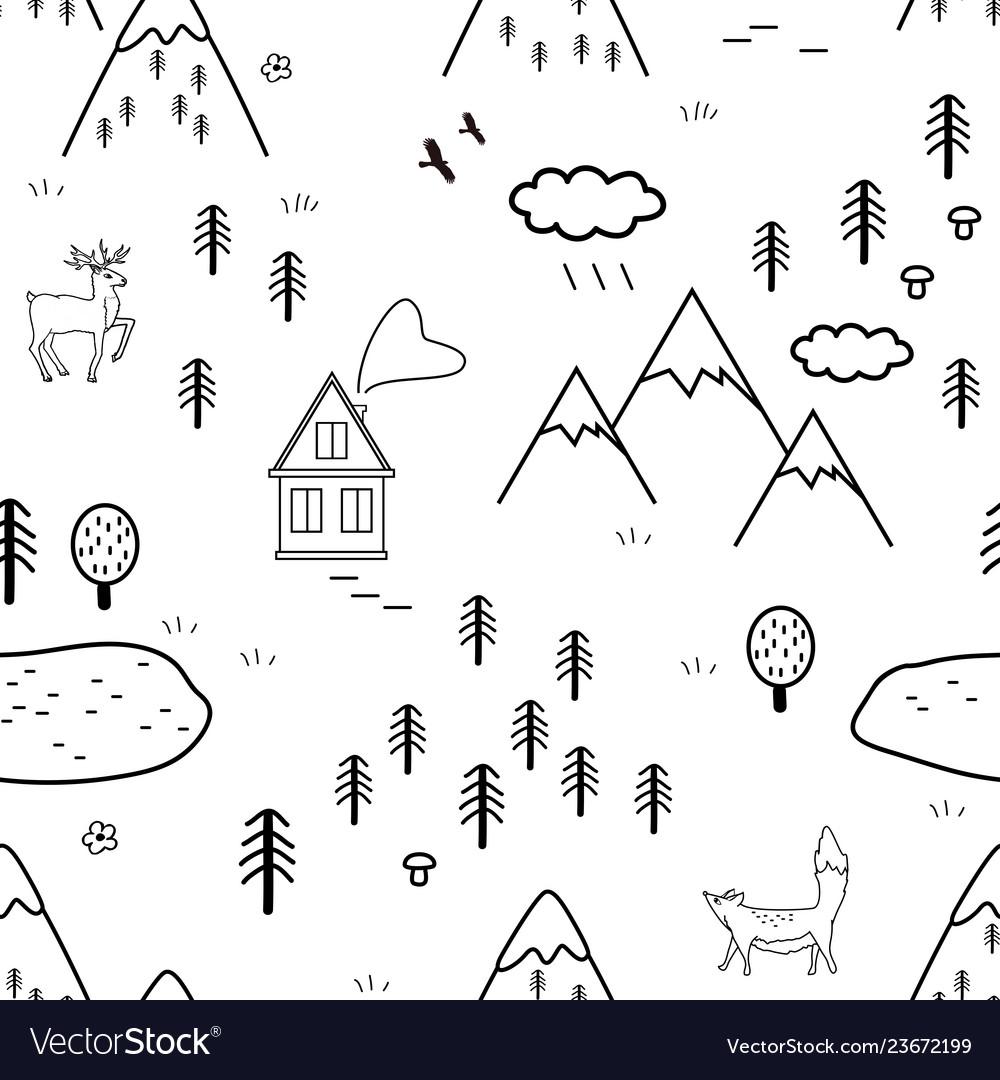 Hand drawn scandinavian landscape with animals