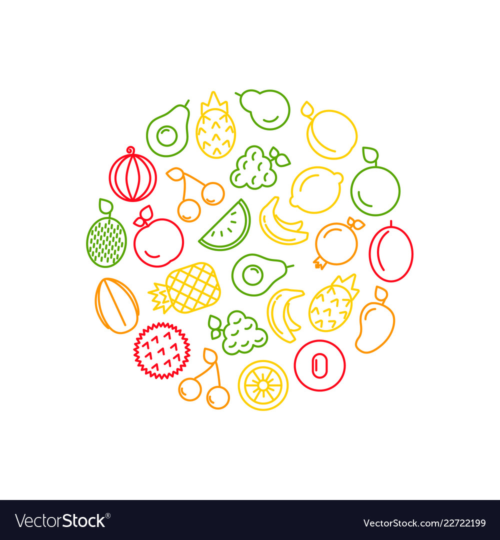 Line fruits icons in circle shape
