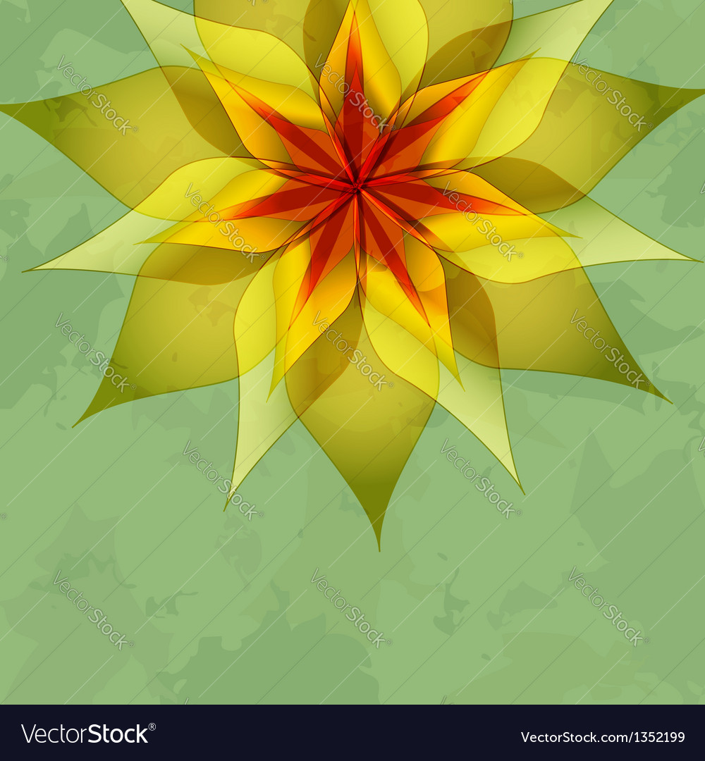 Vintage green background with colorful flower vector image