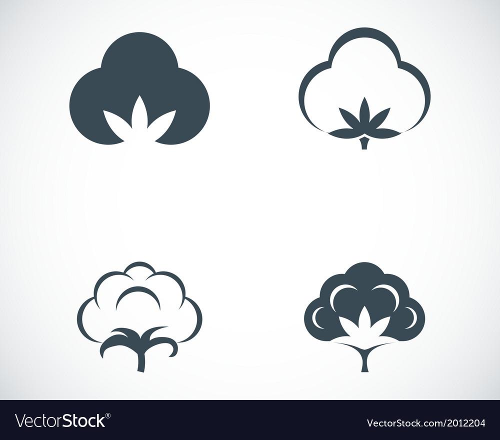 Black cotton icons set