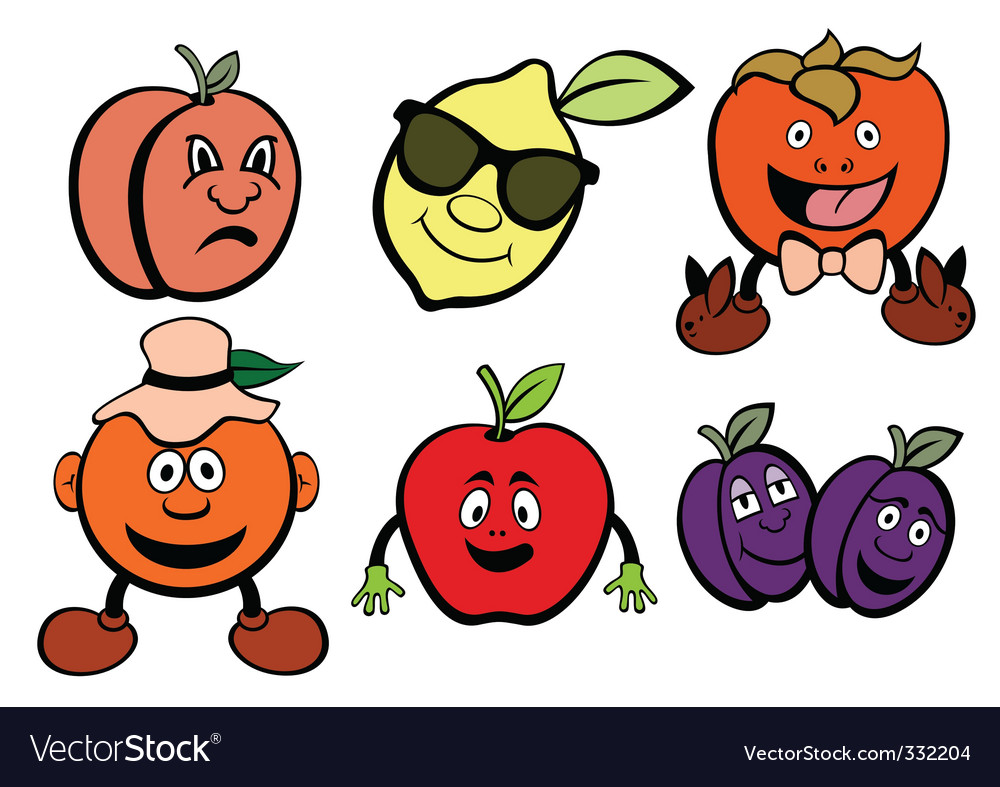 Cartoon fruit icons vector image