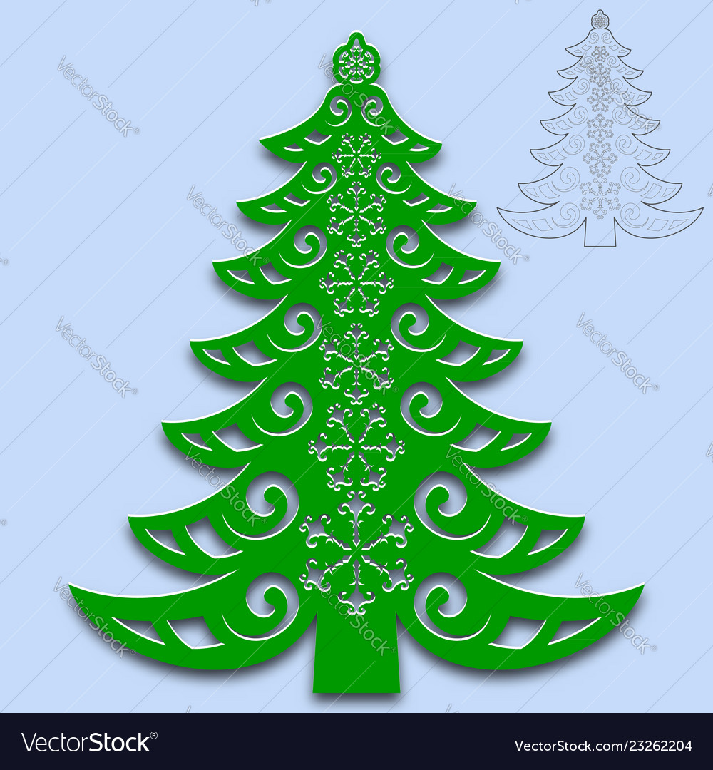 Christmas Tree Cut Out.Christmas Tree Cut From Paper Template For Design