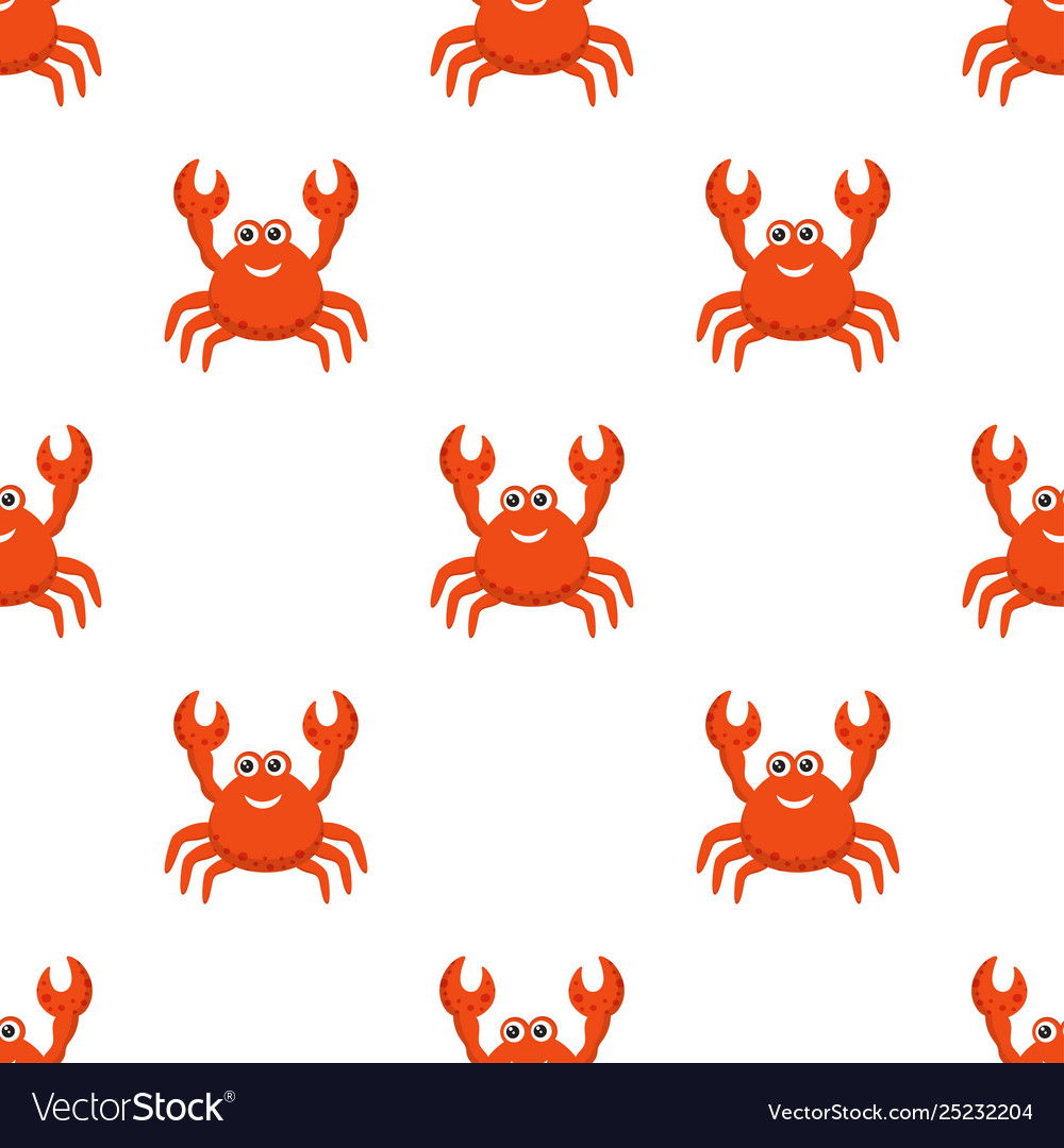Crab cartoon seamless pattern