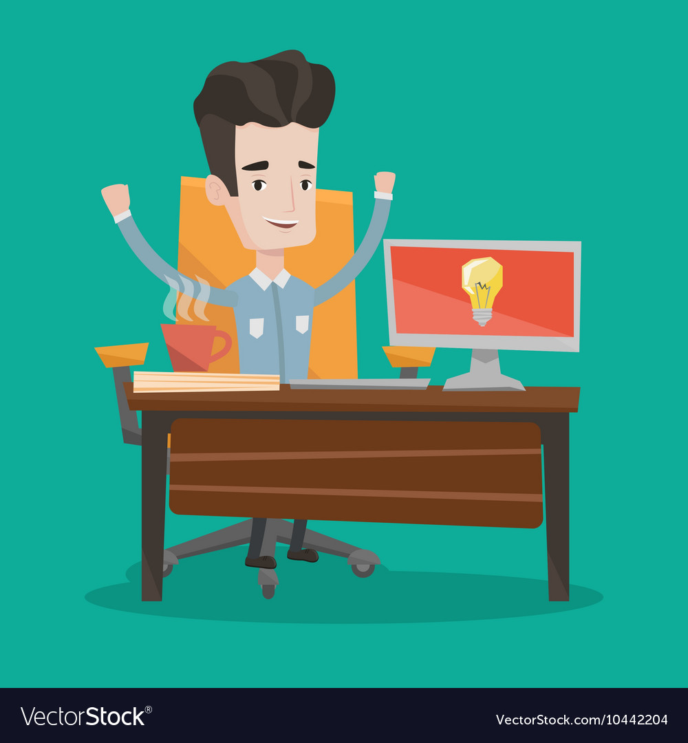 Creative excited businessman having business idea
