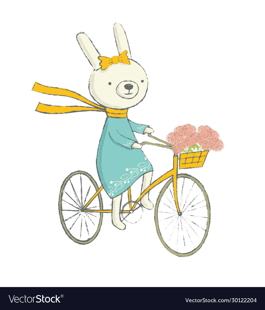 Cute bunny on a bicycle