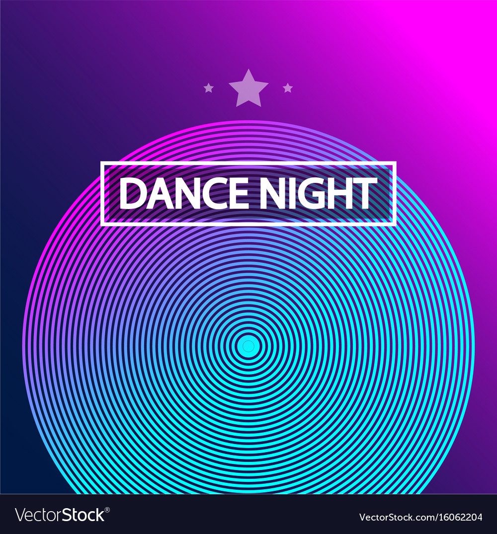 Disco dance art design poster with abstract vector image