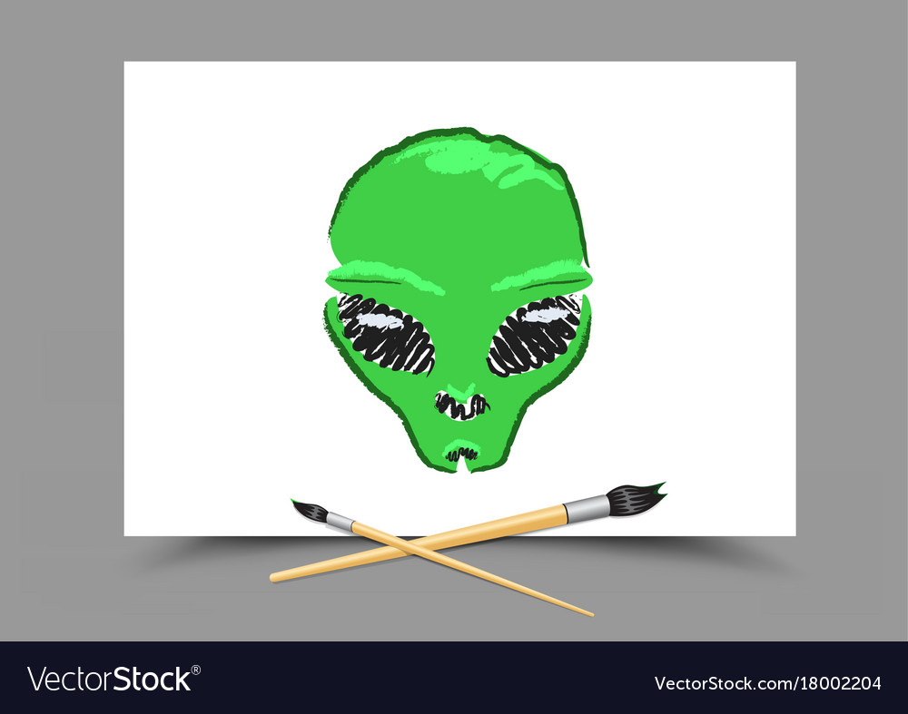 Drawing alien on white paper