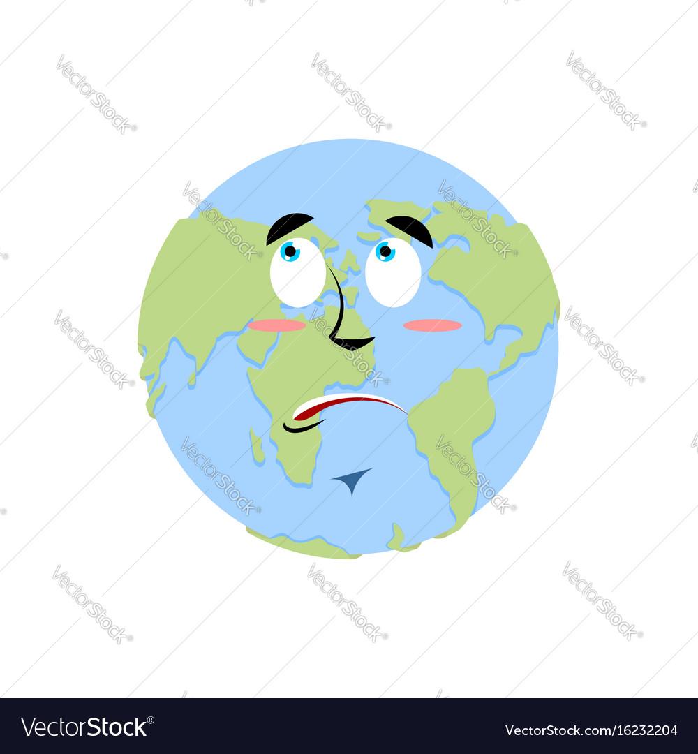 Earth Surprise Emoji Planet Amaze Emotion Isolated