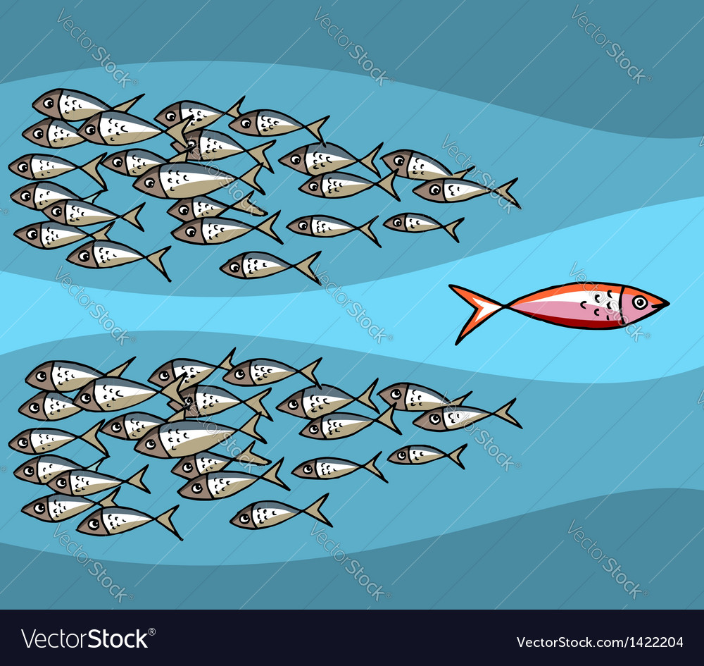 Fish Swimming Against The Tide vector image