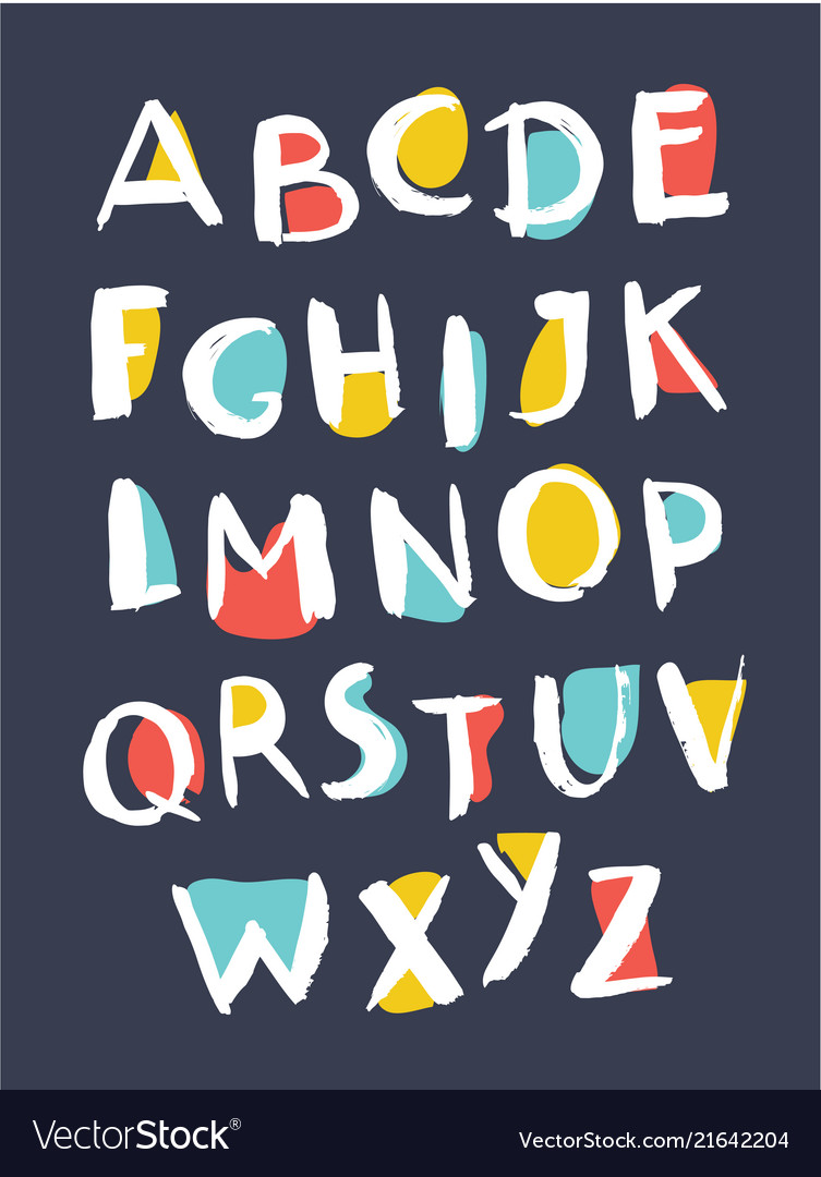 Hand drawn alphabet written with brush pen