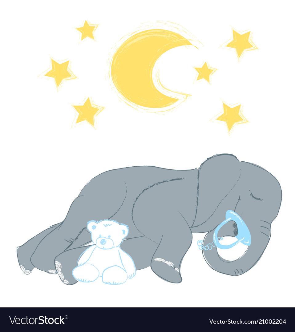 Hand drawn with a cute baby elephant sleeping