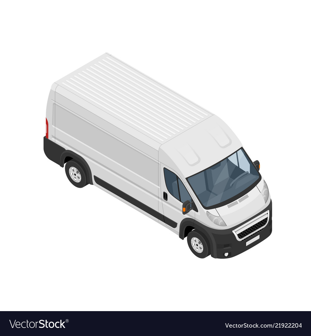 Isometric commercial van icon isolated on a white