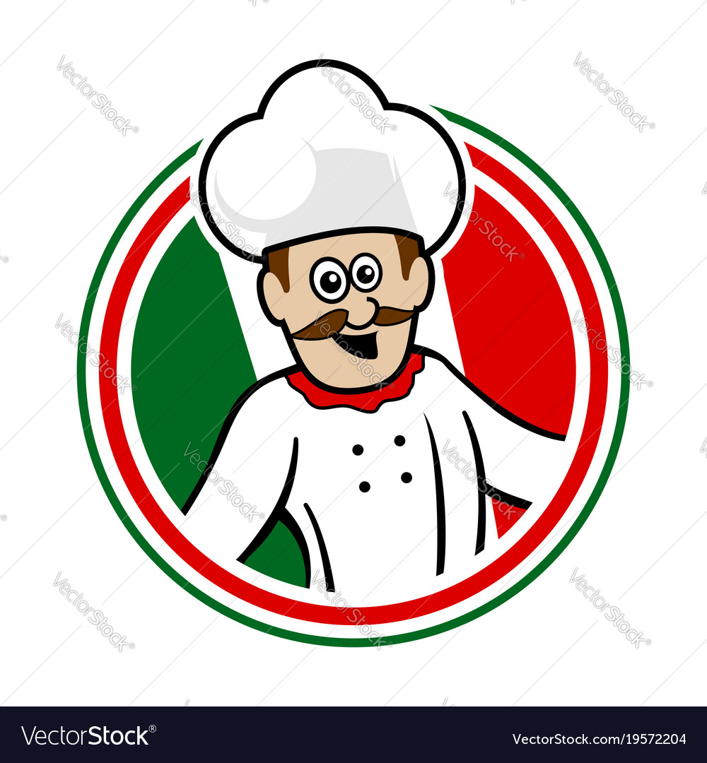 Italian chef emblem logo graphic