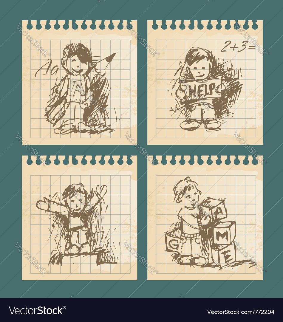 Kids , set of vintage drawings