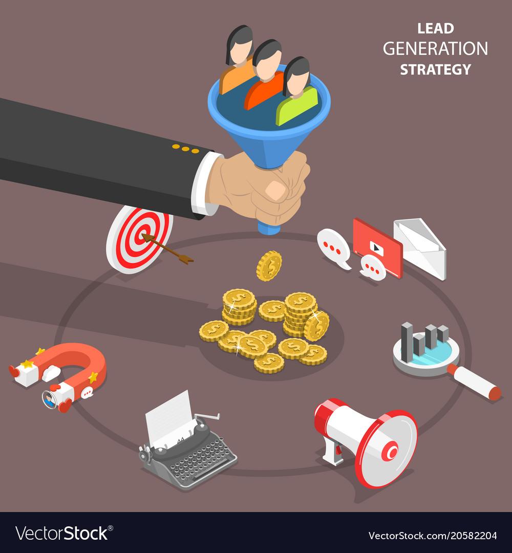 Lead generation strategy flat isometric