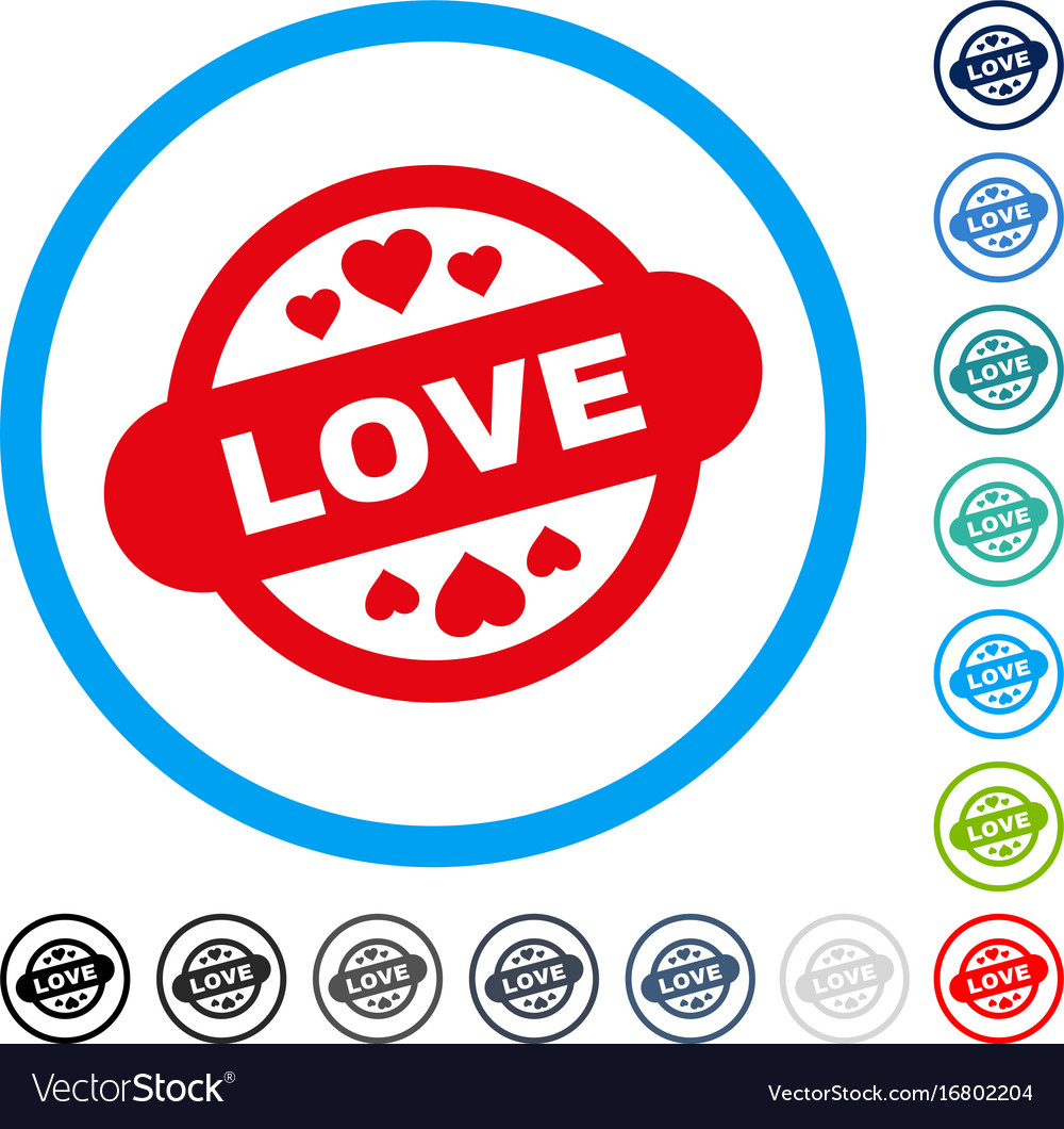 Love stamp seal rounded icon
