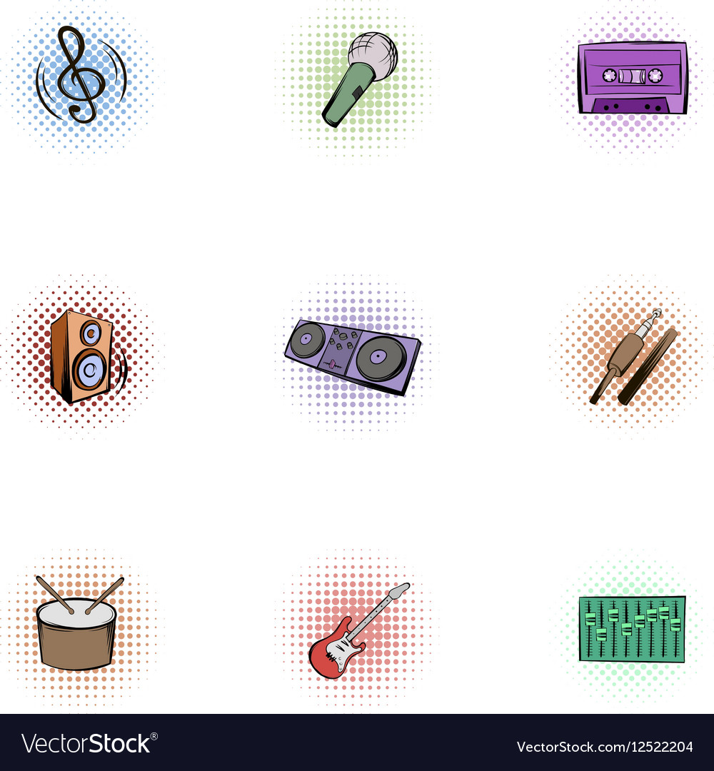 Musical tools icons set pop-art style vector image