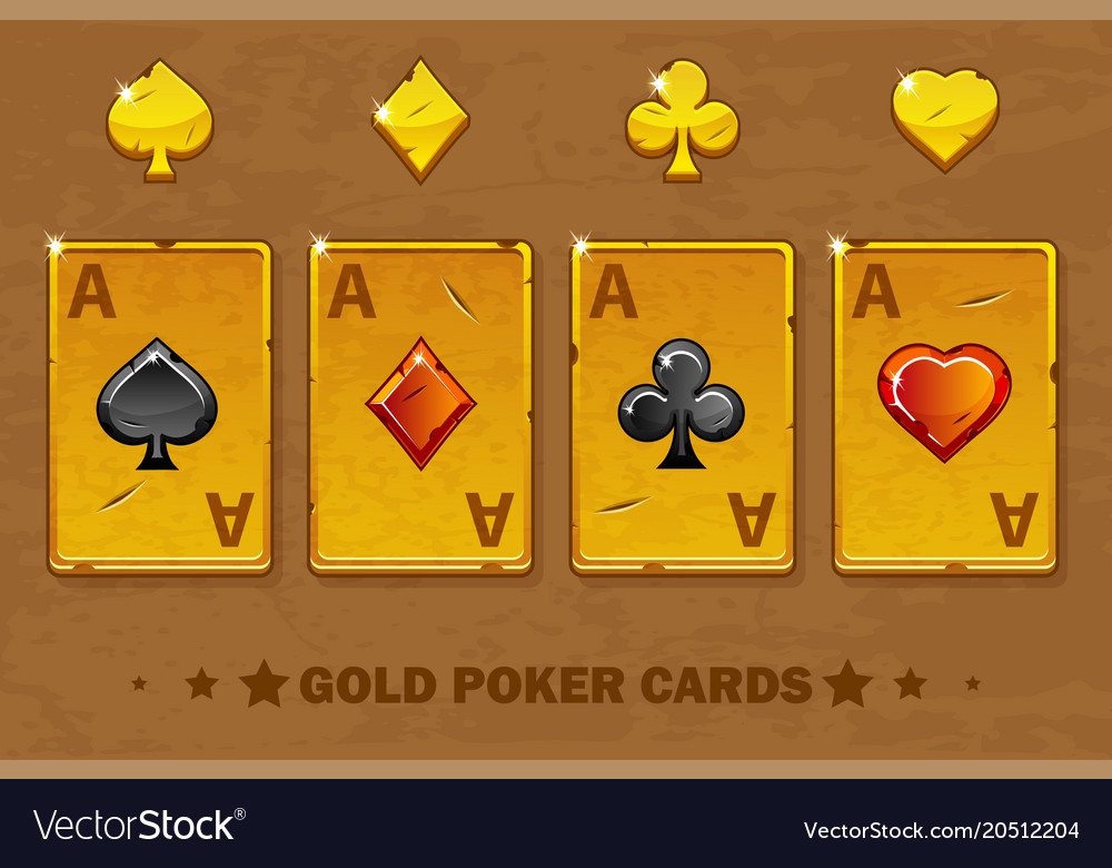 Old golden four ace poker playing cards icons for
