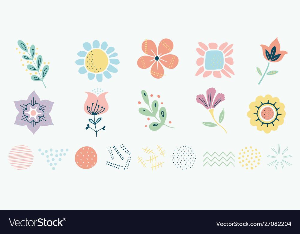Scandinavian motif herbs and flowers set simple