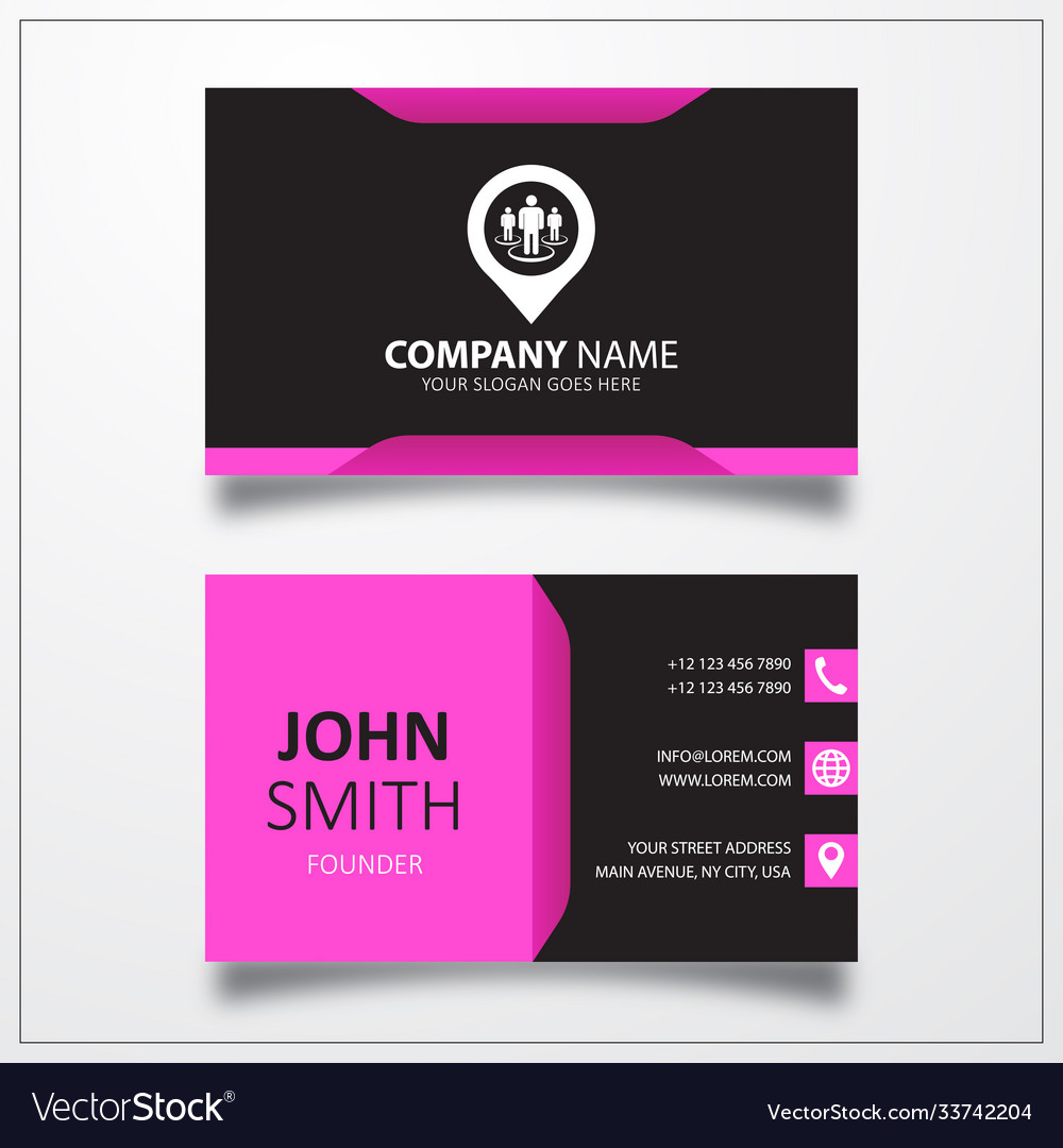 Street view with pin icon business card template