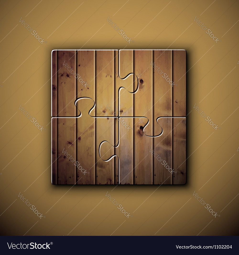 Wooden background on puzzle vector image