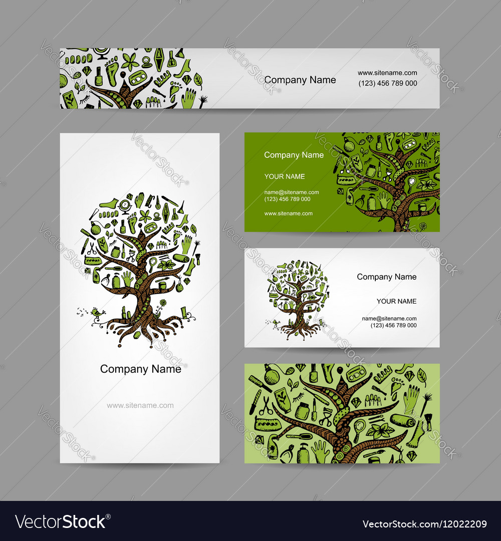 Business cards set with cosmetic tree design vector image colourmoves