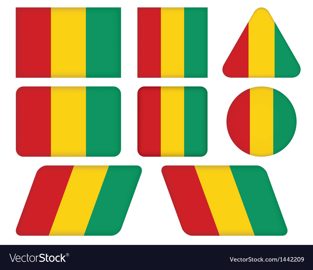 Buttons with flag of Guinea vector image