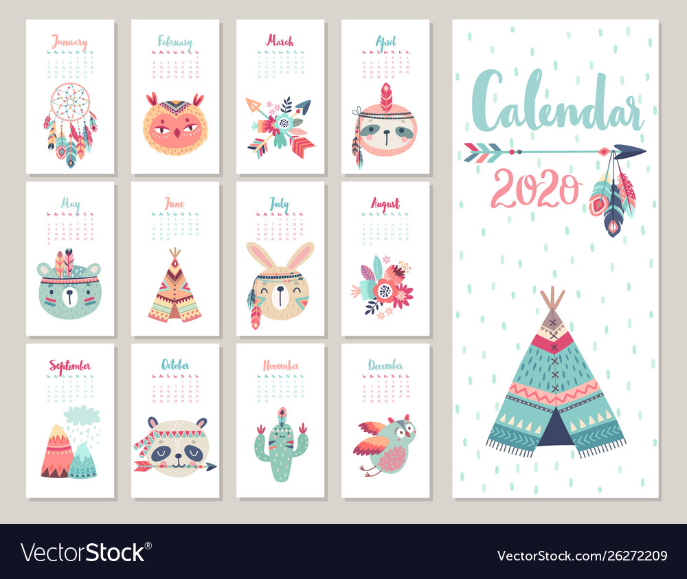 calendar 2020 cute monthly calendar with forest vector 26272209