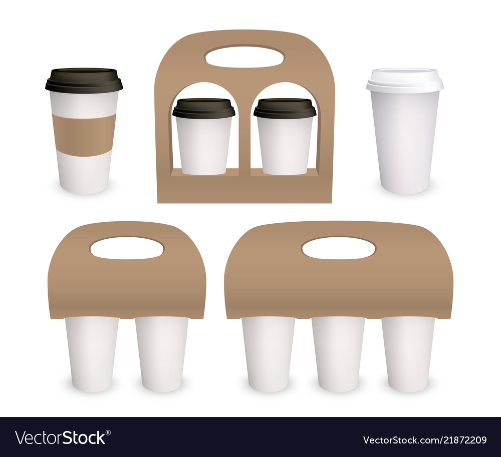 Coffee cup paper mockup pack 3d models Royalty Free Vector