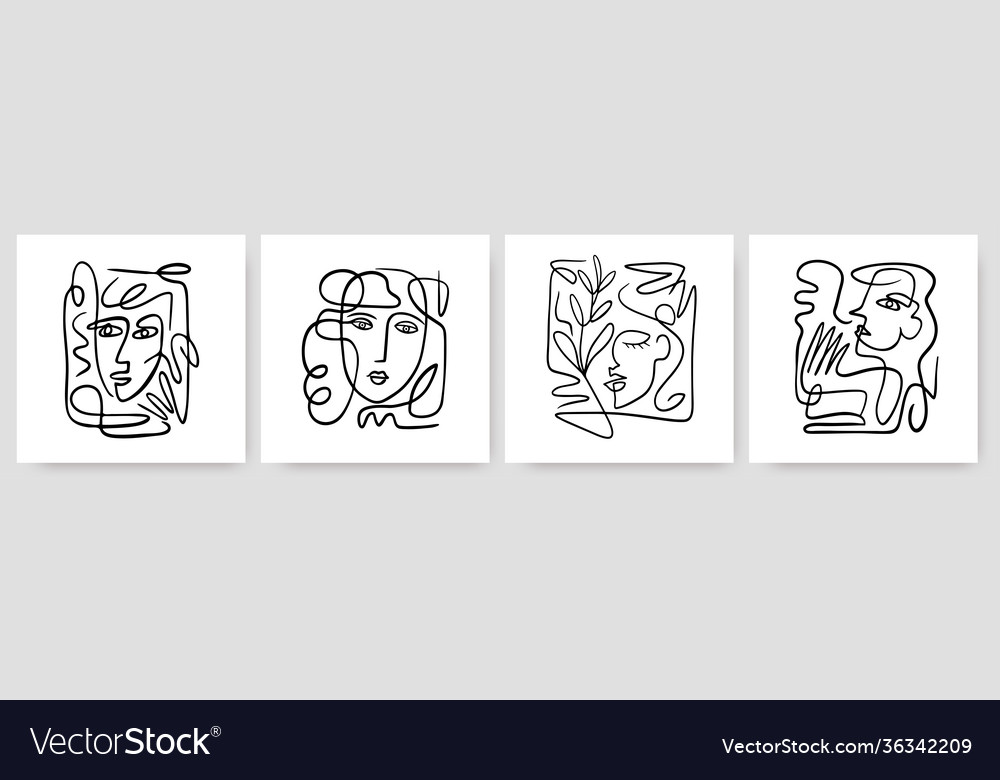 Contemporary abstract faces in one line art style