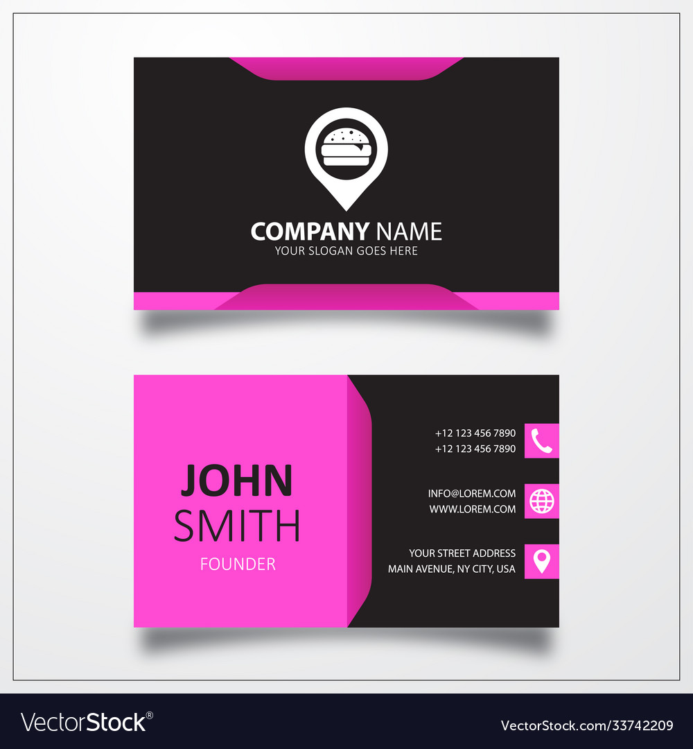 Fast food with pin icon business card template