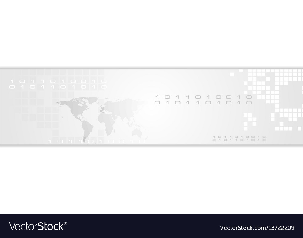Grey abstract technology banner header