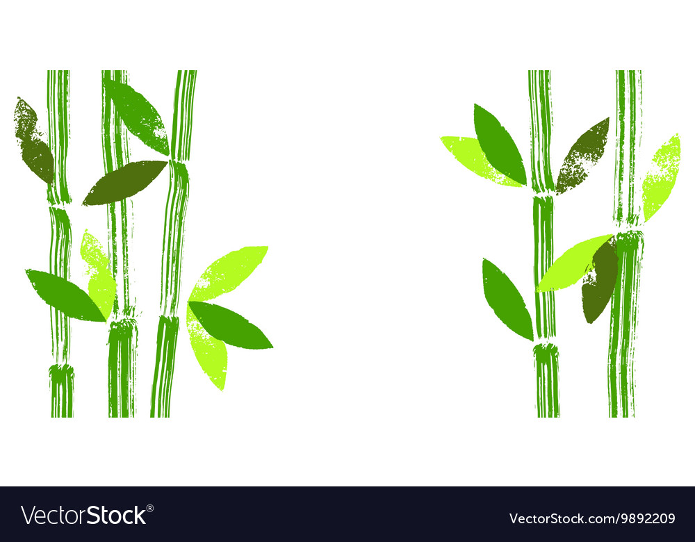 Hand painted bamboo stems and leaves