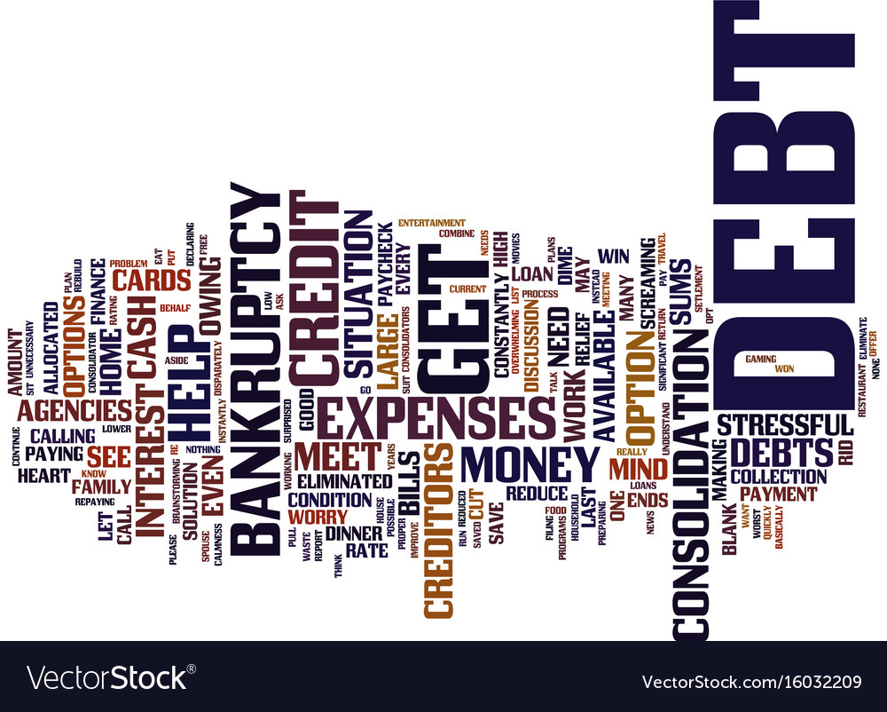 Let me out of debt please text background word vector image