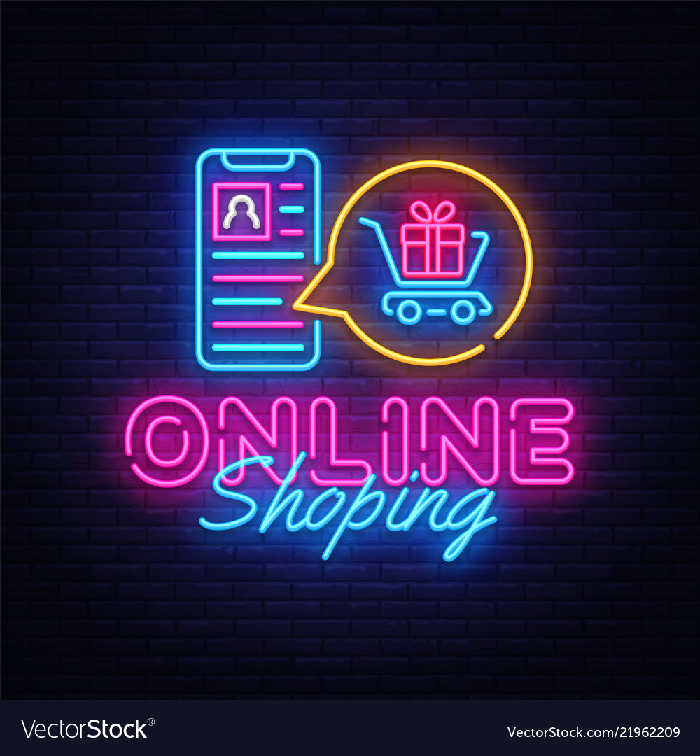 Online shoping neon banner design template