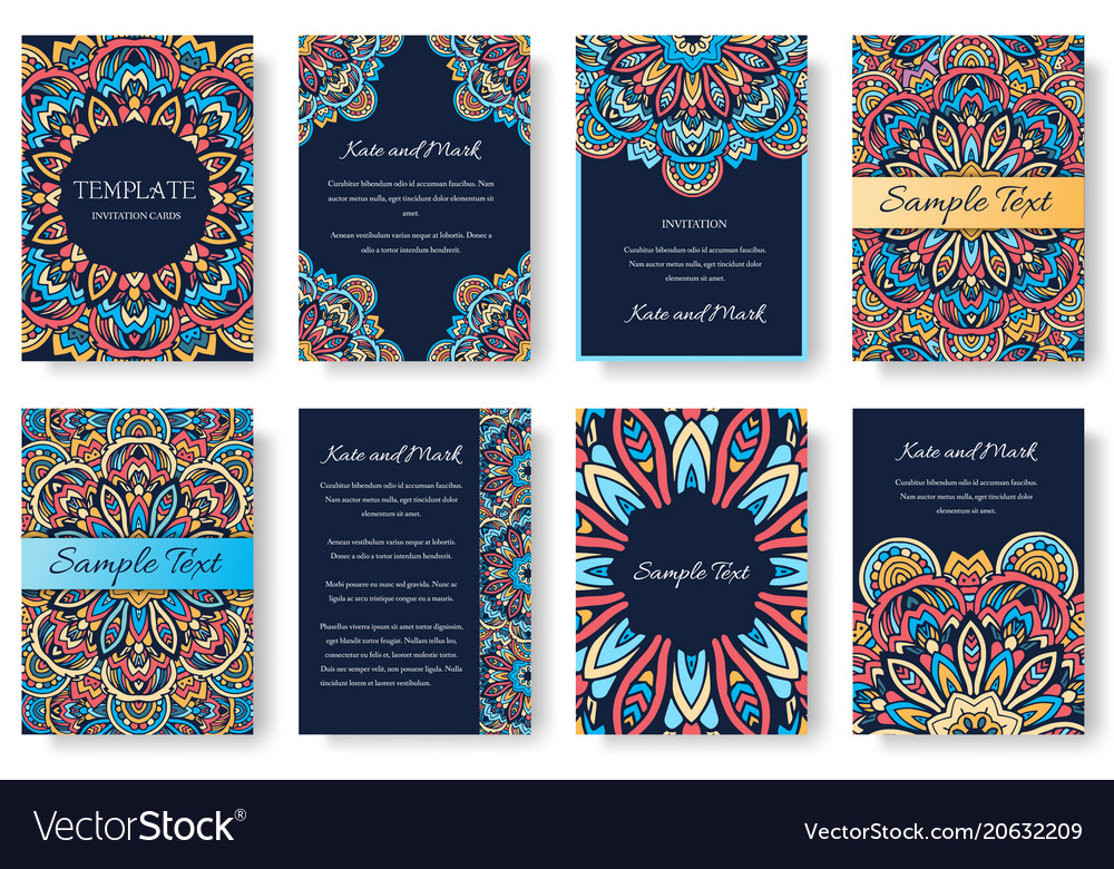 Set of old ramadan kareem flyer pages ornament