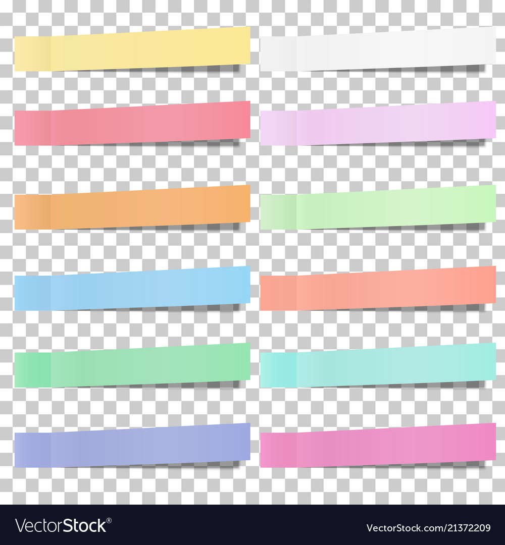Set of pastel color sticky notes stickers