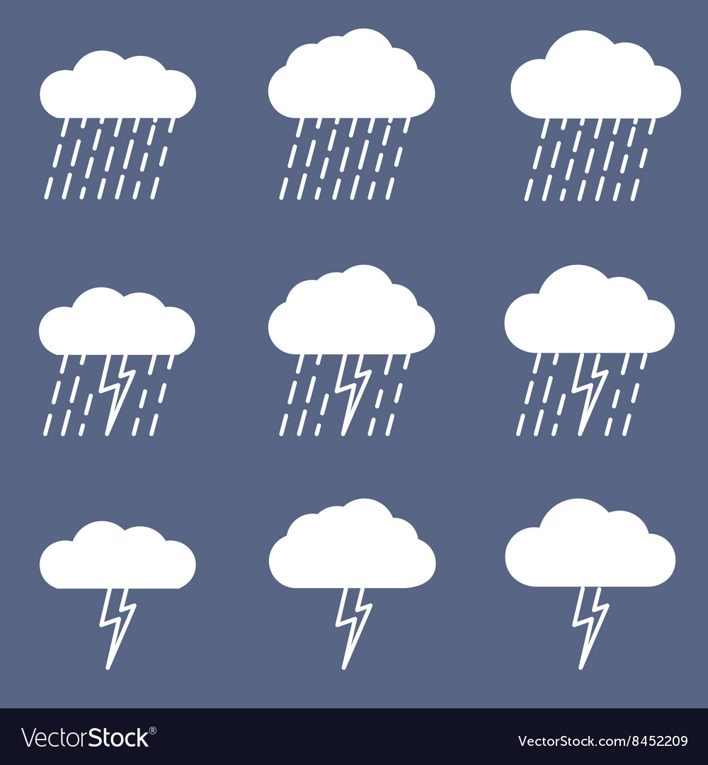 Set of rainy icon for weather or climate project